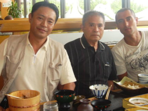 Marvin in Okinawa with his grandfather's younger brother, Shigueo Uehara, and his oldest son, Shiguemitsu Uehara.