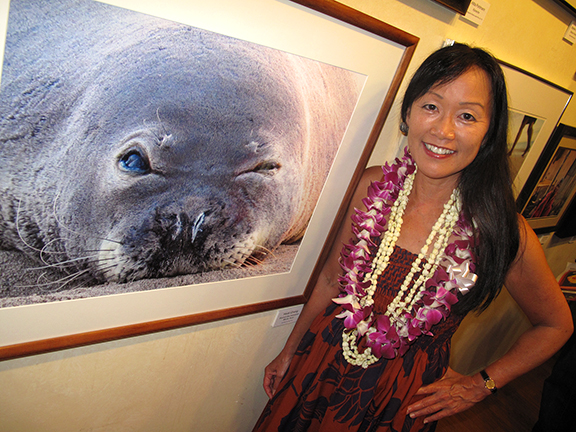 Heidi Chang and Kermit Hawaiian Monk Seal
