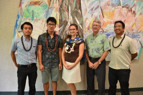 L to R:  Yuki Asahina (Japan), Yilong Liu (China), Sadie Green (USA), Ned Shultz (EWCA President), Jonathan Valdez (USA)