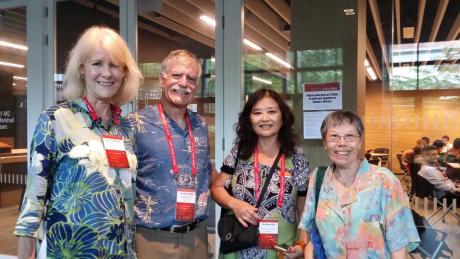 Karen Knudsen, Chair of the EWC Board of Governors Richard Turbin, Rai Saint Chu, and Alice Seng at EWC Media Conference, Singapore, June 2018.