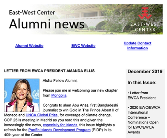 East-West Center Alumni News